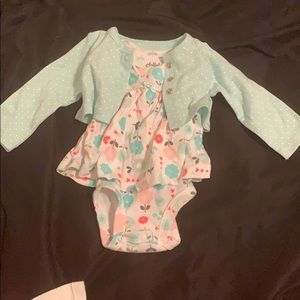 Newborn 2pc Carters dress onesie with cardigan set